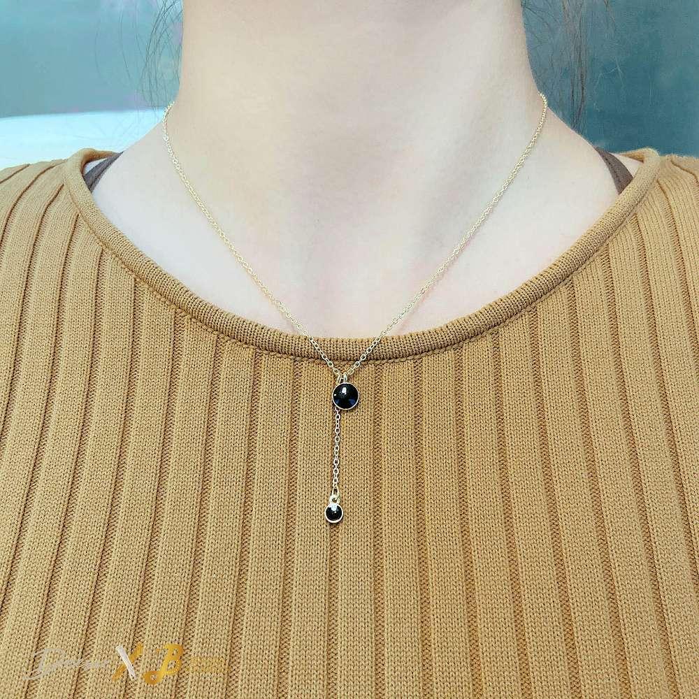 項鍊 - 黑色雙圓點鎖骨鍊 合金滴釉 - 飾品調色盤 | 迪希雅 deesir