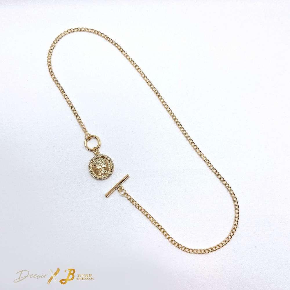 項鍊 - 女王頭金幣鎖骨鍊 合金 - 飾品調色盤   迪希雅 deesir