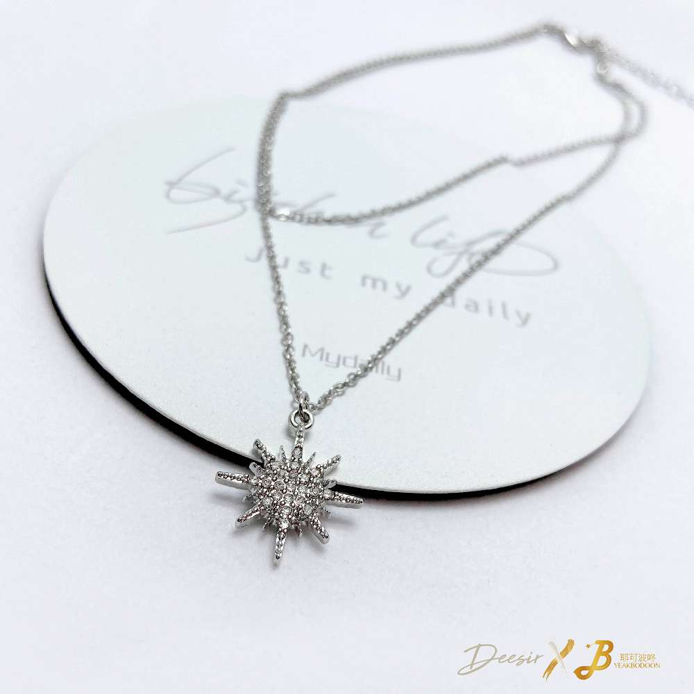 項鍊 - 八芒星雙環鎖骨鍊 合金鋯石 - 飾品調色盤   迪希雅 deesir