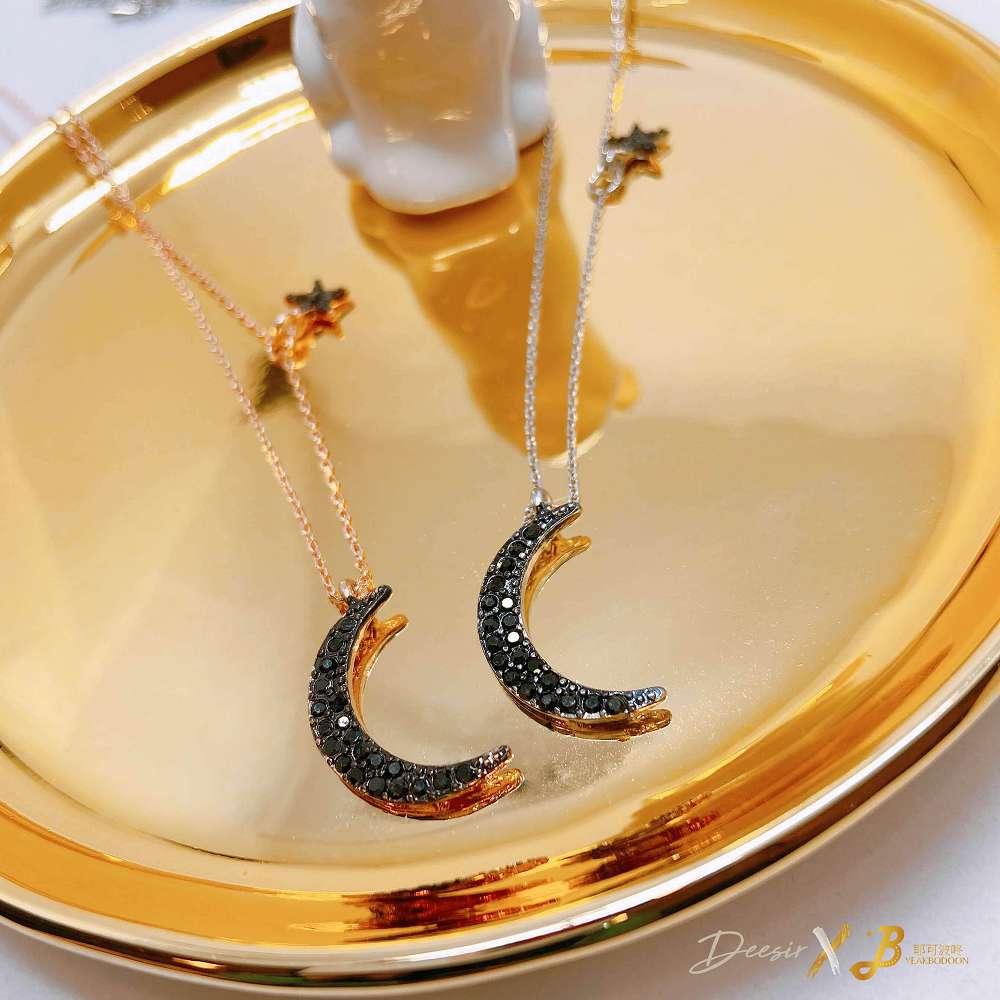 項鍊 - 黑暗彎月星星鎖骨鍊 鋯石 - 飾品調色盤 | 迪希雅 deesir