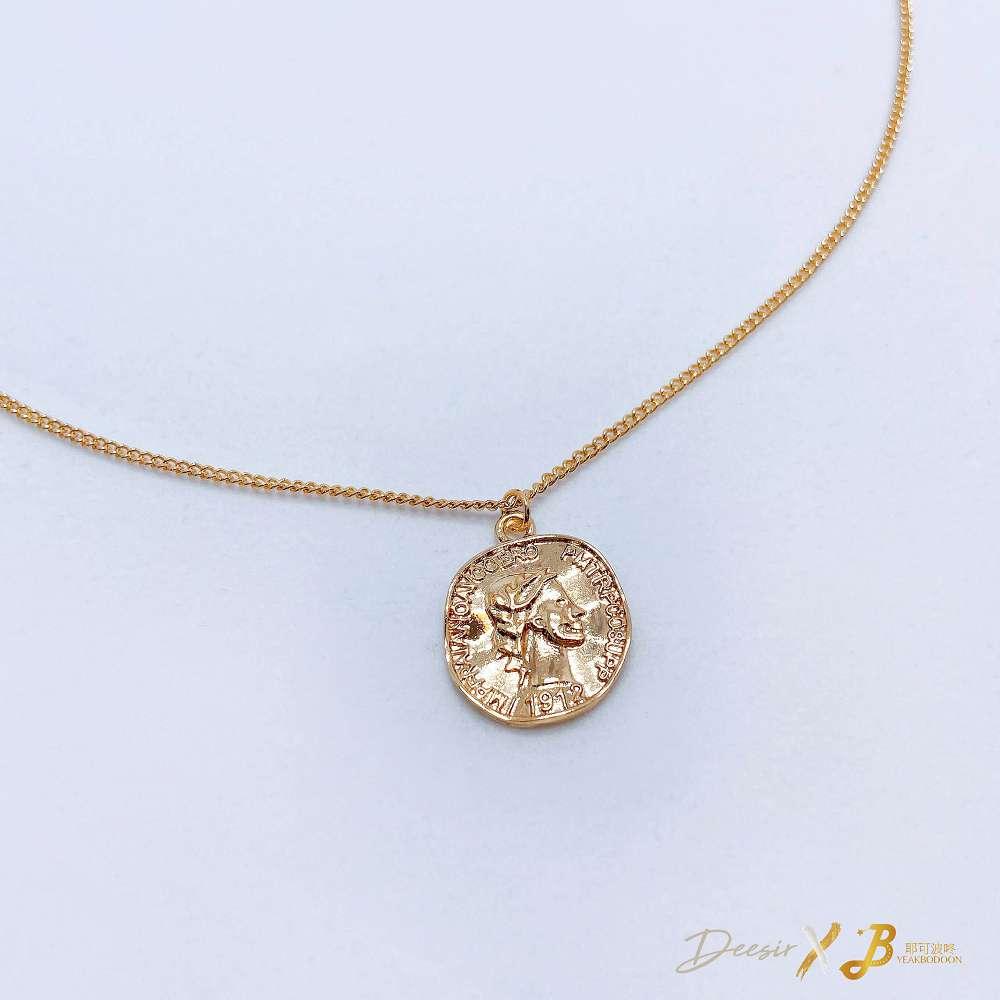 項鍊 - 凹凸金幣鎖骨鍊 合金 - 飾品調色盤 | 迪希雅 deesir