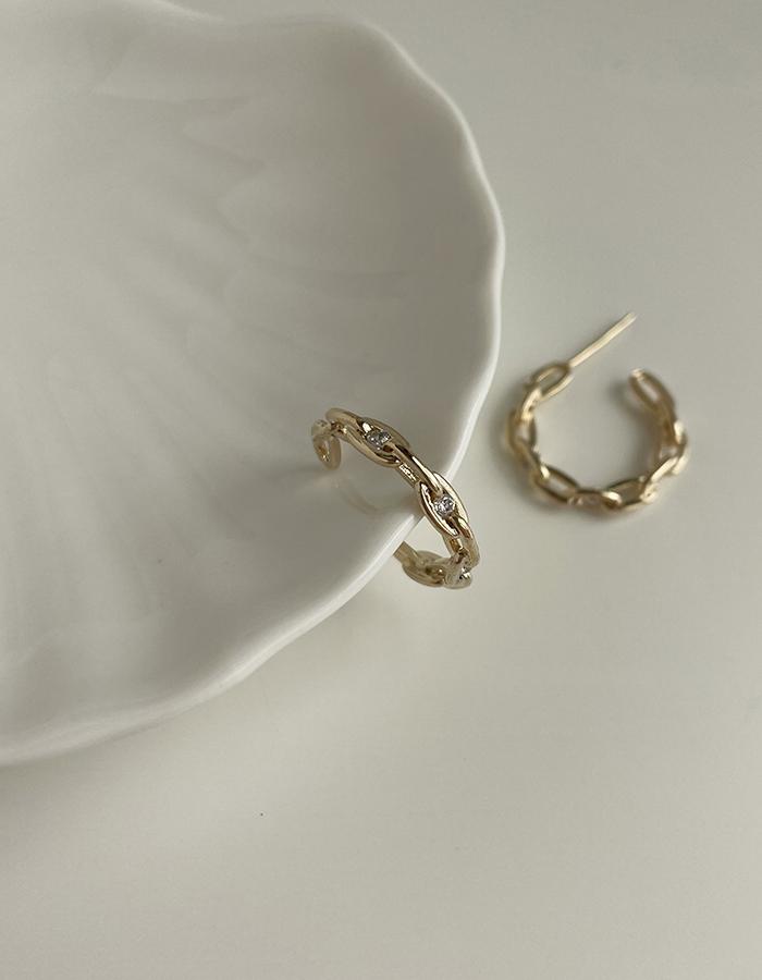 針式耳環 - C字鍊條造型耳環 - 飾品調色盤   迪希雅 deesir