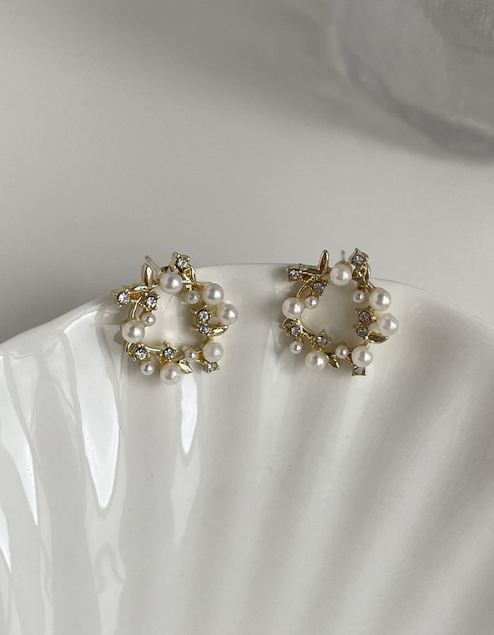 針式耳環 - 金色花圈珍珠耳環 - 飾品調色盤   迪希雅 deesir