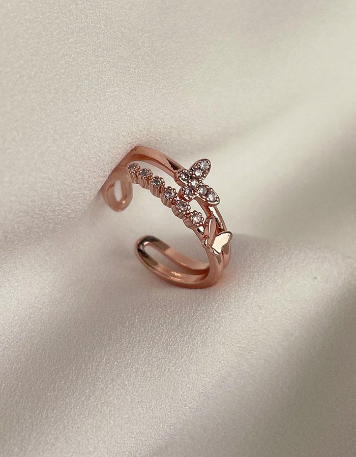 單戒指 - 玫瑰金鑲鑽雙層蝴蝶戒指 - 飾品調色盤 | 迪希雅 deesir