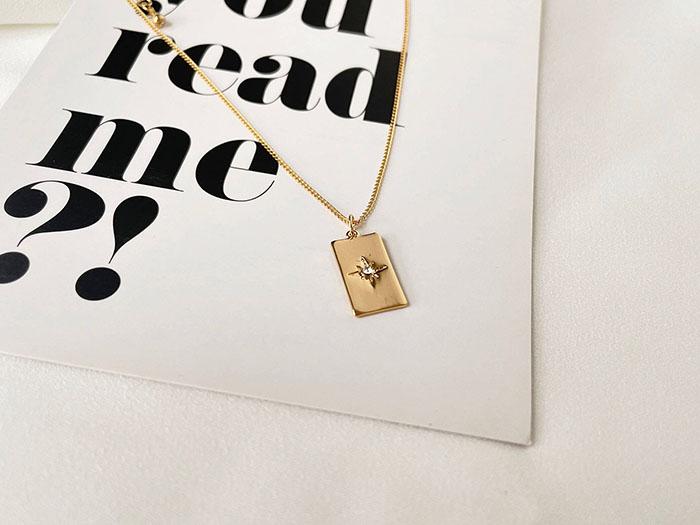項鍊 - 簡約星芒鑲鑽吊牌項鍊 - 飾品調色盤 | 迪希雅 deesir