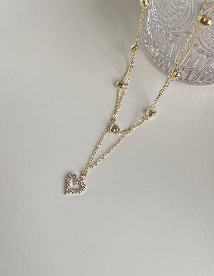 項鍊 - 愛心鑲鑽雙層項鍊 - 飾品調色盤   迪希雅 deesir