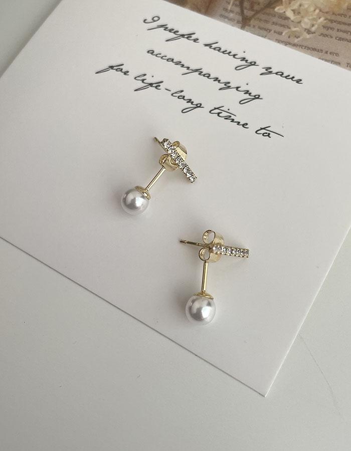 針式耳環 - 一字細小水鑽珍珠 - 飾品調色盤 | 迪希雅 deesir