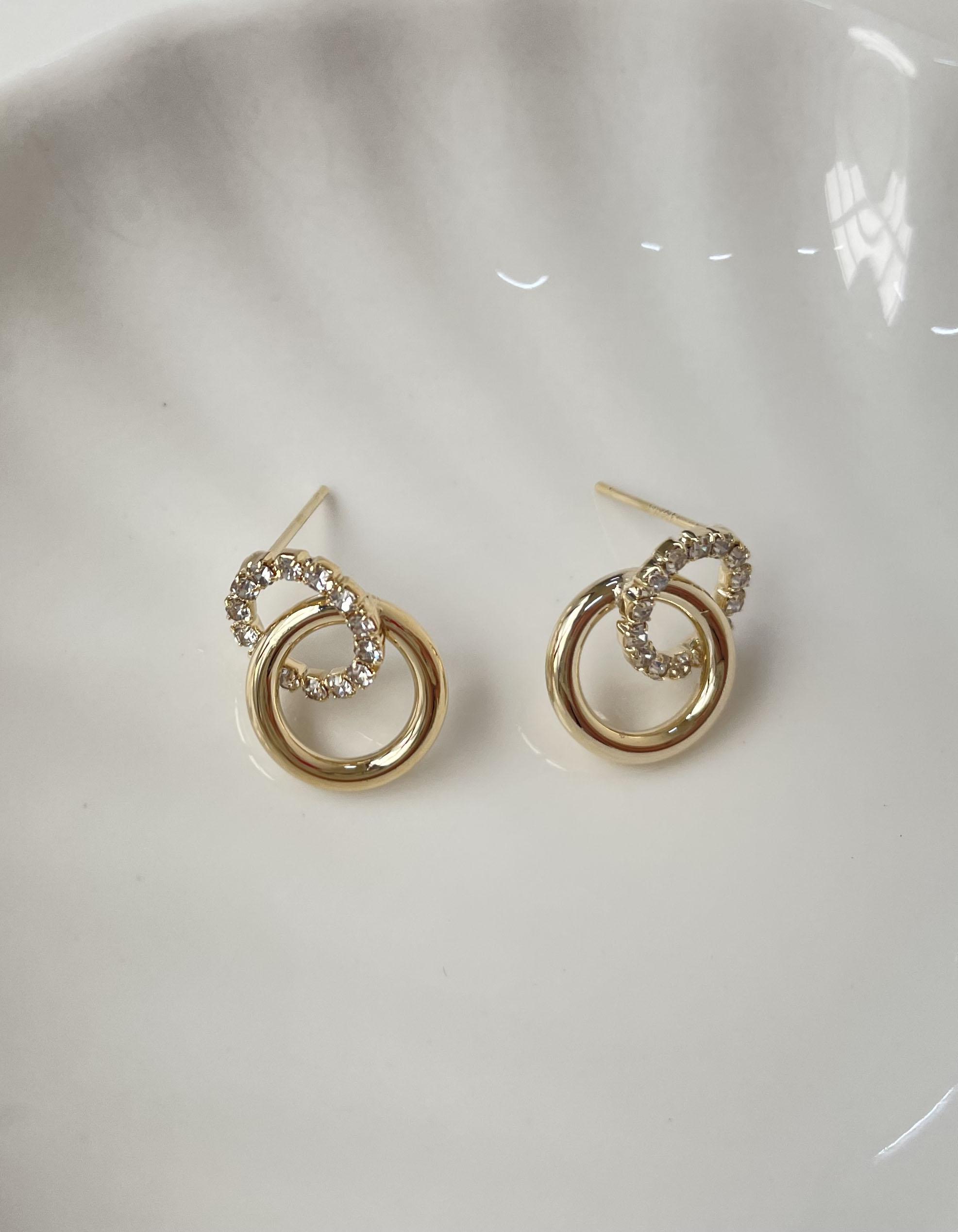 針式耳環 - 氣質雙圓圈水鑽耳環 - 飾品調色盤   迪希雅 deesir