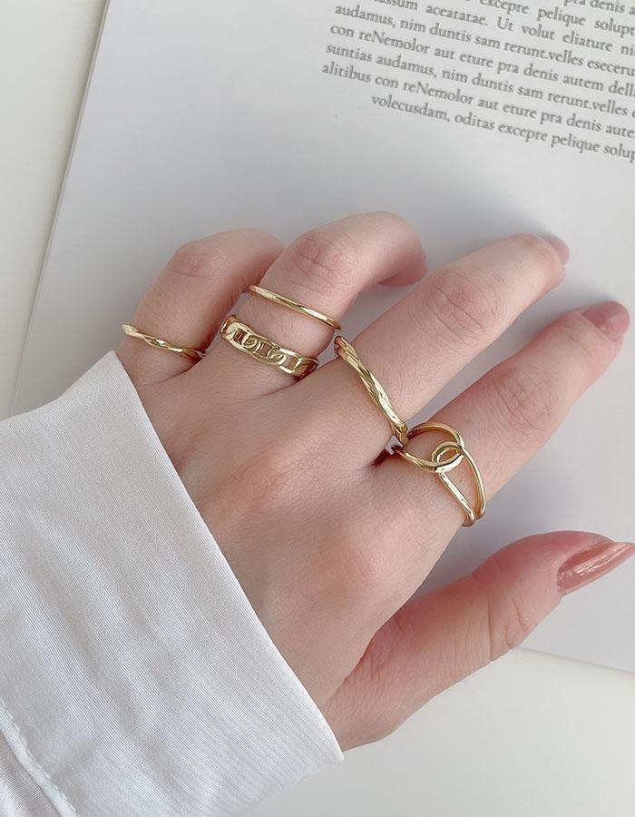 戒指組 - 冷淡風扭結戒指五件組 - 飾品調色盤 | 迪希雅 deesir