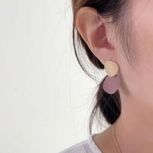 針式 - 霧面大小圓片耳環 - 飾品調色盤   迪希雅 deesir