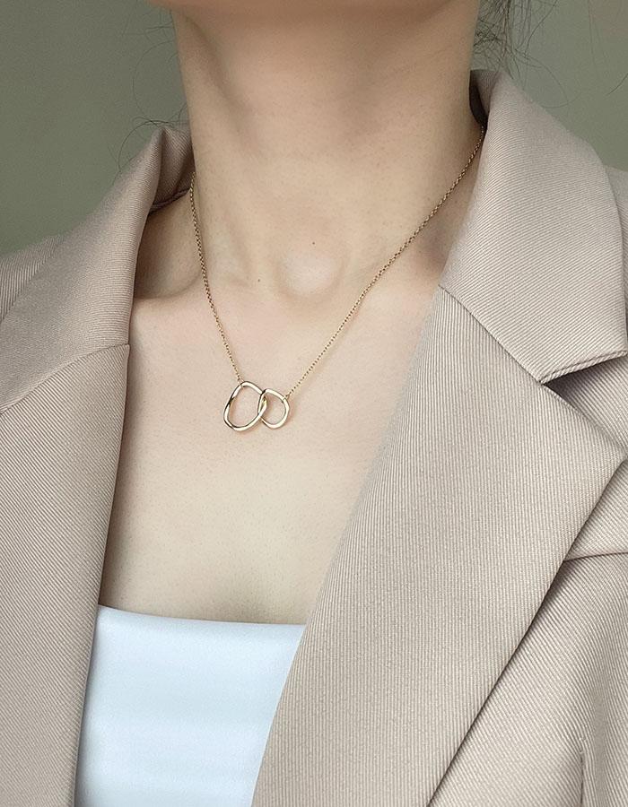項鍊 - 交錯雙環造型鎖骨鍊 - 飾品調色盤 | 迪希雅 deesir