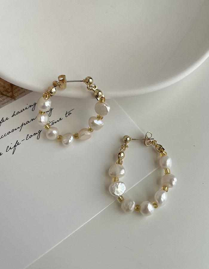 針式 - 珍珠環形耳環 - 飾品調色盤 | 迪希雅 deesir