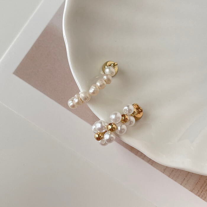 耳骨夾 - 磁吸式雙層大小交錯珍珠耳骨夾(單支) - 飾品調色盤 | 迪希雅 deesir