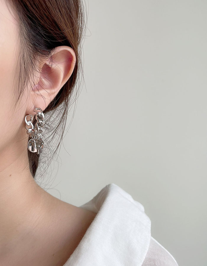 針式耳環 - 銀色鎖鏈垂墜耳環 - 飾品調色盤 | 迪希雅 deesir