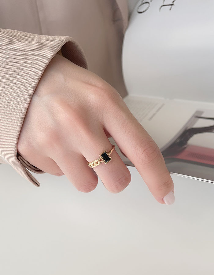 單戒指 - 半鍊條設計滴釉戒指 - 飾品調色盤 | 迪希雅 deesir
