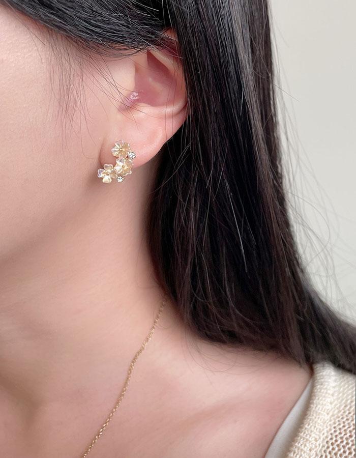 針式耳環 - 鑲鑽花朵耳環 - 飾品調色盤   迪希雅 deesir