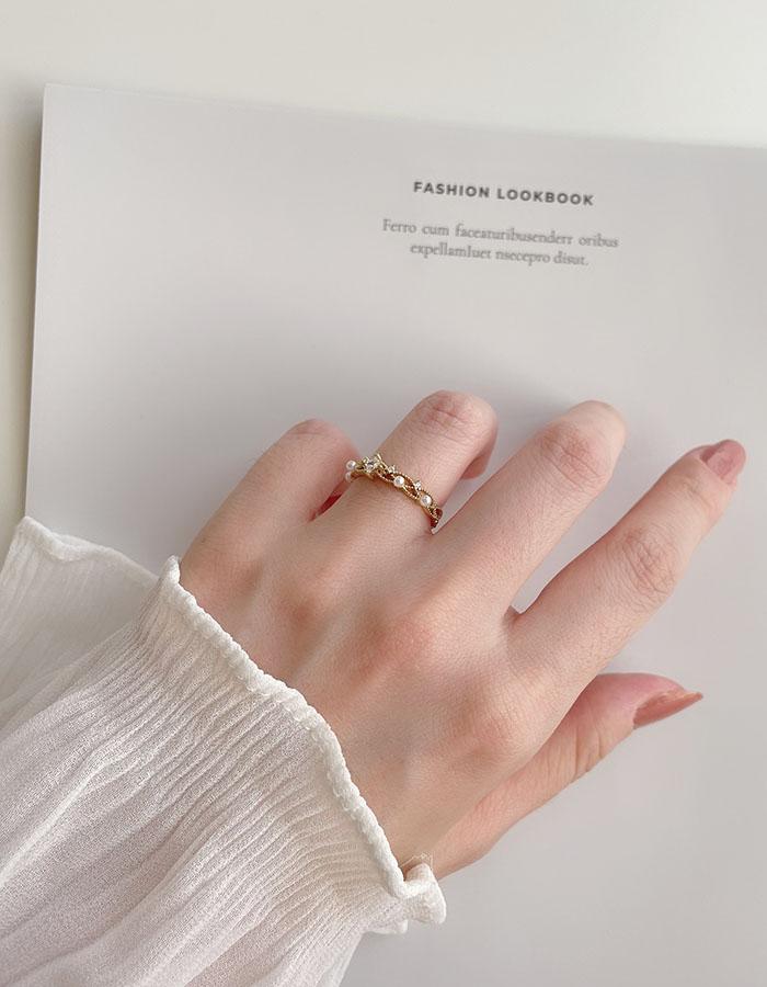 單戒指 - 輕奢水鑽珍珠戒指 - 飾品調色盤 | 迪希雅 deesir