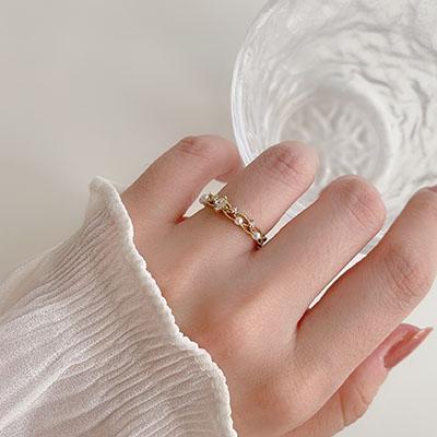 單戒指 - 輕奢水鑽珍珠戒指 - 飾品調色盤   迪希雅 deesir