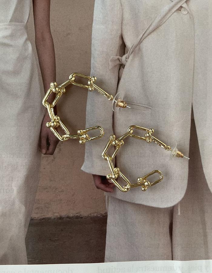 針式耳環 - [2色]鎖鏈鏤空耳環 - 飾品調色盤   迪希雅 deesir