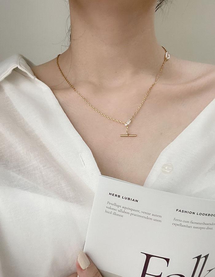 鎖骨鍊|中 - 極細珍珠Y字項鍊 - 飾品調色盤 | 迪希雅 deesir