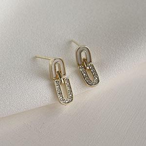 針式 - 雙U鑲鑽耳環 - 飾品調色盤 | 迪希雅 deesir