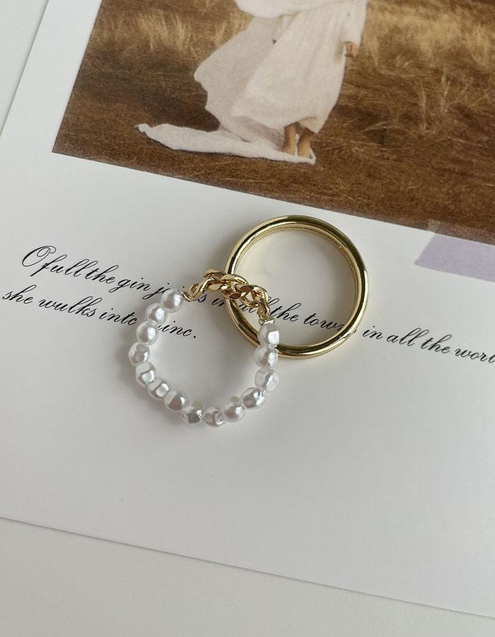 戒指組 - 珍珠簡約戒指兩件組 - 飾品調色盤 | 迪希雅 deesir