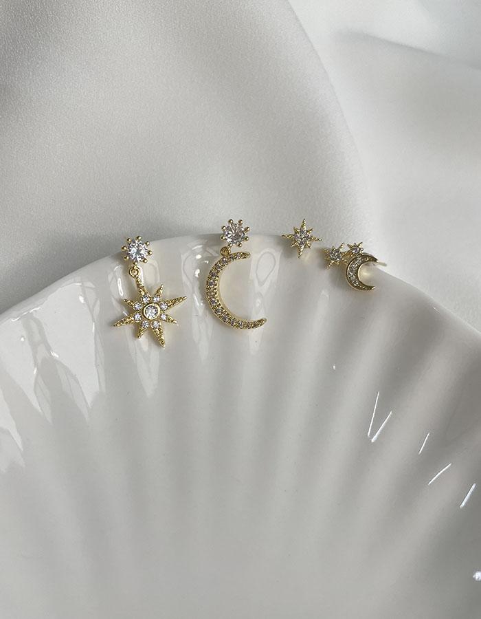針式 - 輕奢閃耀星月耳環組 - 飾品調色盤   迪希雅 deesir