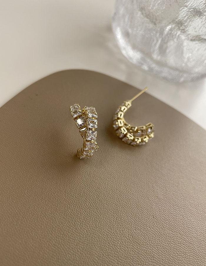 針式 - 兩環交叉鋯石耳環 - 飾品調色盤   迪希雅 deesir