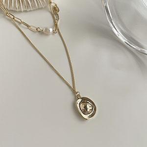 雙鍊|多層次 - 金屬片珍珠雙層項鍊 - 飾品調色盤 | 迪希雅 deesir