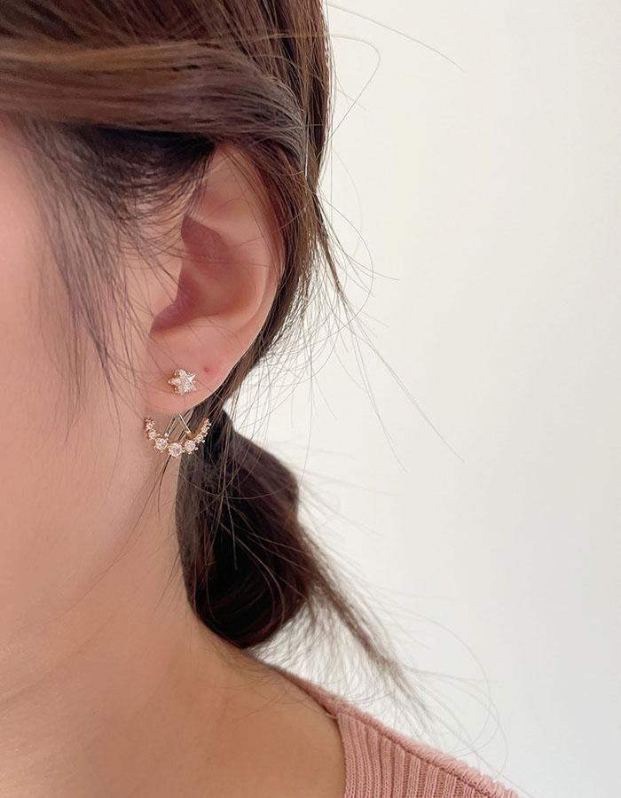 針式 - 閃耀鋯石下緣耳環 - 飾品調色盤   迪希雅 deesir