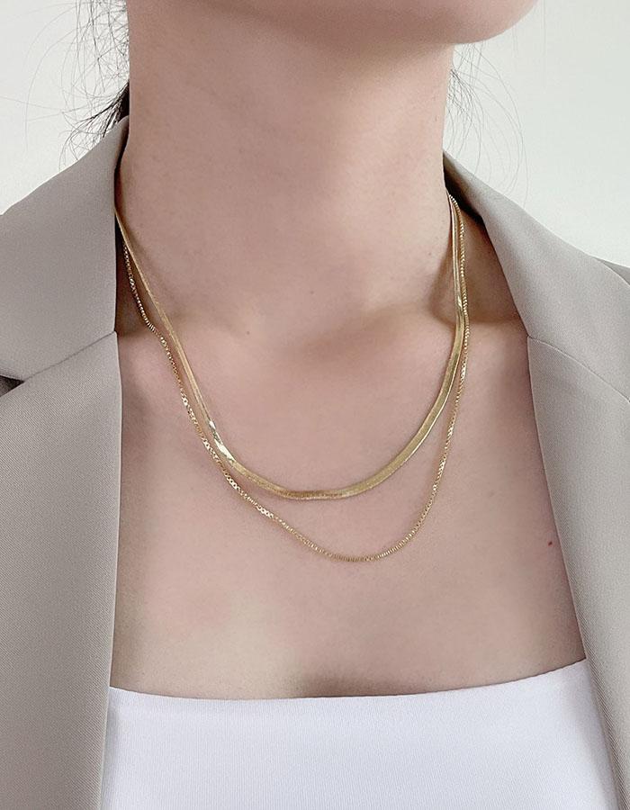 雙鍊 多層次 - 歐美鈦鋼蛇骨雙層練 - 飾品調色盤   迪希雅 deesir