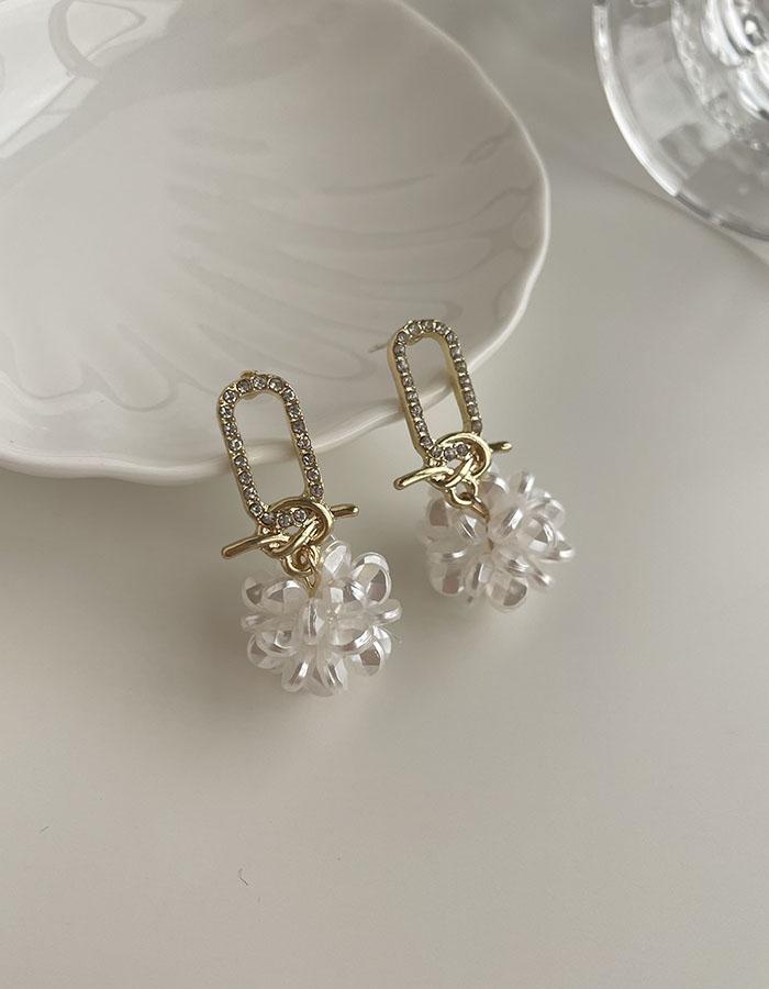 針式耳環 - 鑲鑽花球耳環 - 飾品調色盤 | 迪希雅 deesir
