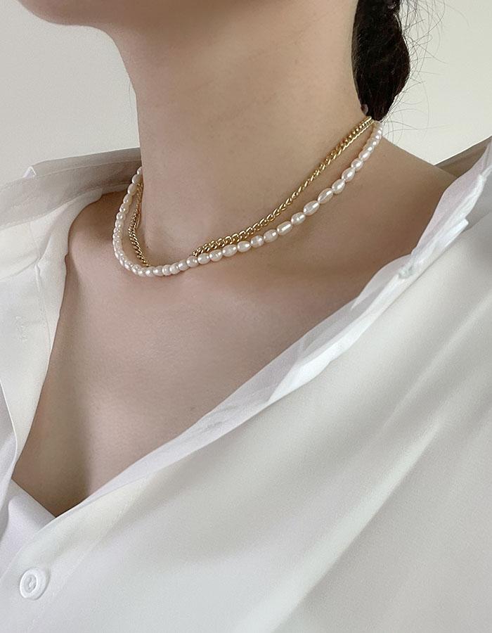 雙鍊|多層次 - 法式珍珠雙層鎖骨鍊 - 飾品調色盤 | 迪希雅 deesir