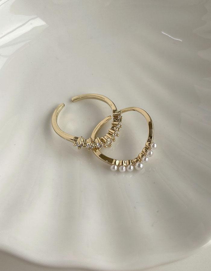 戒指組 - 珍珠排鑽戒指組 - 飾品調色盤 | 迪希雅 deesir