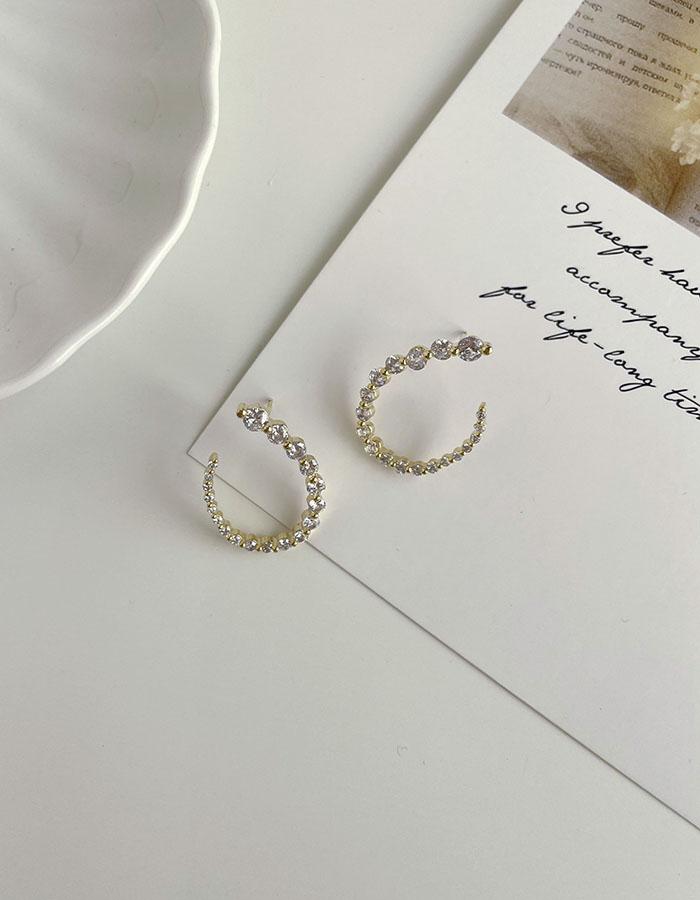 針式耳環 - 漸變設計感鋯石耳環 - 飾品調色盤 | 迪希雅 deesir