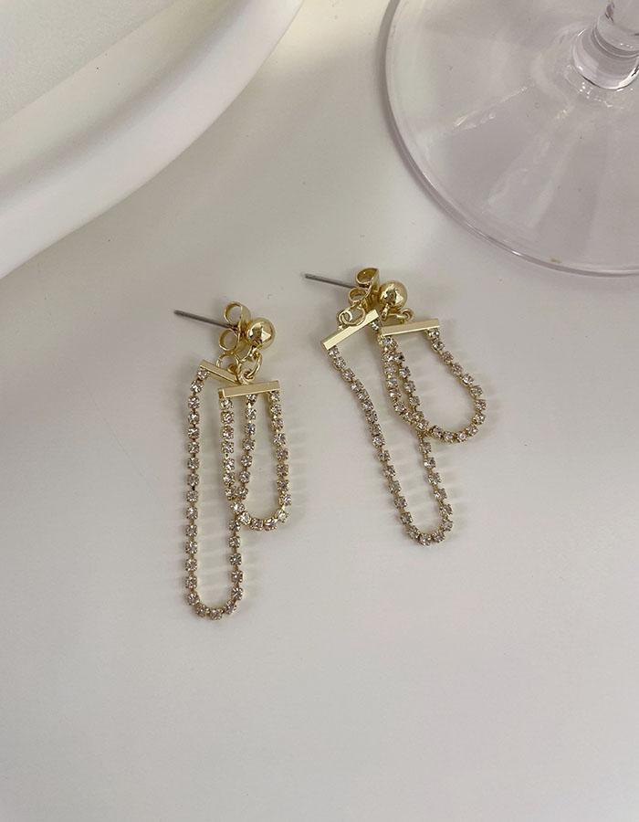 針式 - 前後鑲鑽細鍊垂墜耳環 - 飾品調色盤   迪希雅 deesir