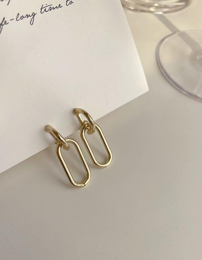 耳夾 - 冷淡風橢圓鏤空耳夾 - 飾品調色盤   迪希雅 deesir