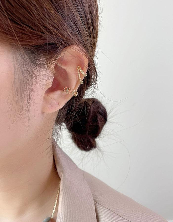 耳骨夾 - 歐美星星鍊條耳骨夾組 - 飾品調色盤   迪希雅 deesir